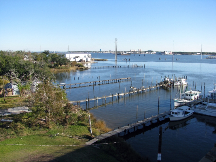 Back Bay piers from the I-110 bridge