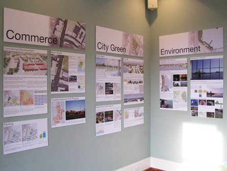 A portion of the exhibit discussing the topics of commerce, City Hall, and the environment.