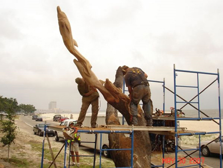 Sculptor Dayton Scoggins at work in May 2007 in Biloxi, Mississippi. (City of Biloxi)